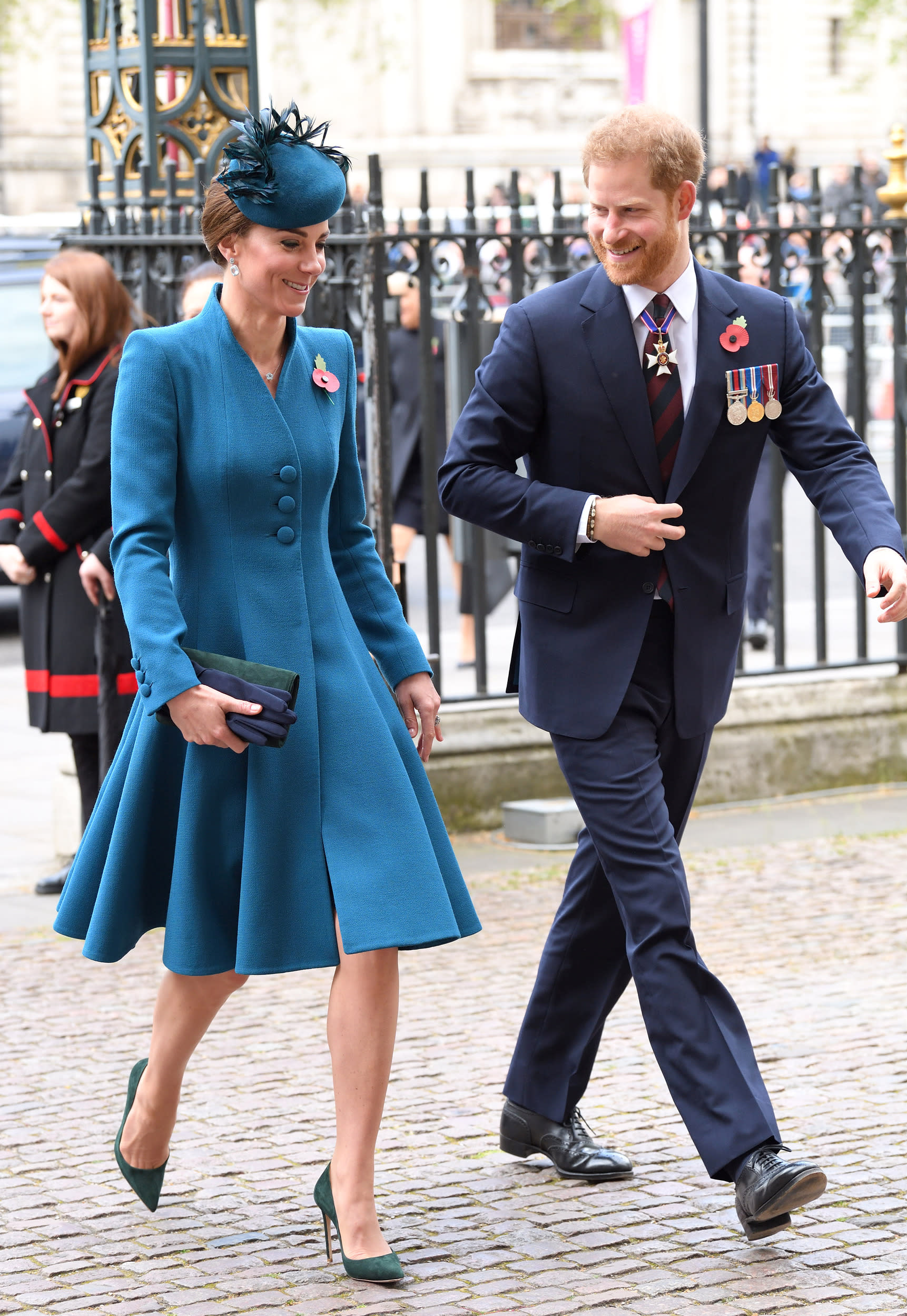 LONDON, ENGLAND - APRIL 25: Catherine, Duchess of Cambridge and Prince Harry, Duke of Sussex attend the ANZAC Day Service of Commemoration and Thanksgiving at Westminster Abbey on April 25, 2019 in London, United Kingdom. (Photo by Karwai Tang/WireImage)