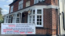 Pub landlord hits back at neighbours' noise complaints with sarcastic sign