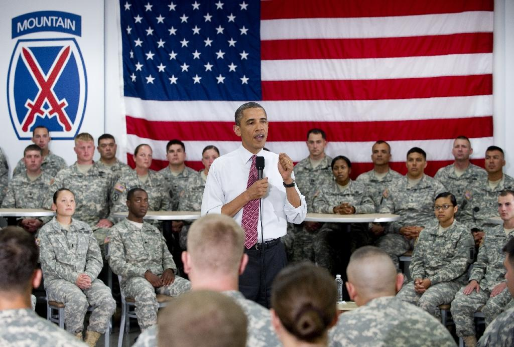 US President Barack Obama speaks to US Army soldiers at Fort Drum, New York in 2011
