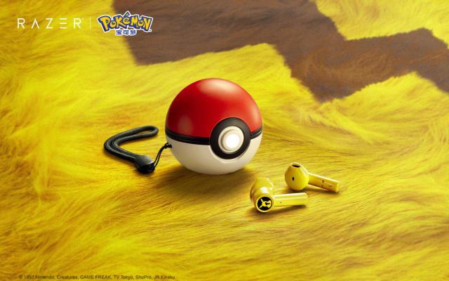 Razer's Pikachu wireless earbuds are stored in a Poké Ball