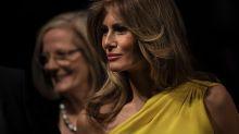 Melania Trump Pops in Yellow One-Shoulder Dress