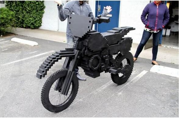 ExciteBike motorcycle built out of wood hits us like a ton of pixels