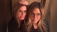 Courteney Cox pulls off scarily good Jennifer Aniston transformation to celebrate pal's birthday