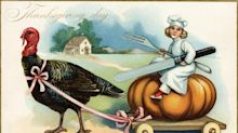 Vintage illustrations as Thanksgiving greetings