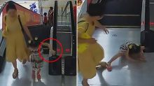 Horrifying moment girl's entire arm gets stuck in escalator