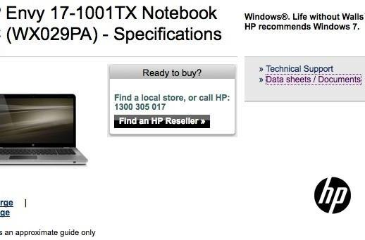 Envy 17 pops up on HP.com begging to be officially launched