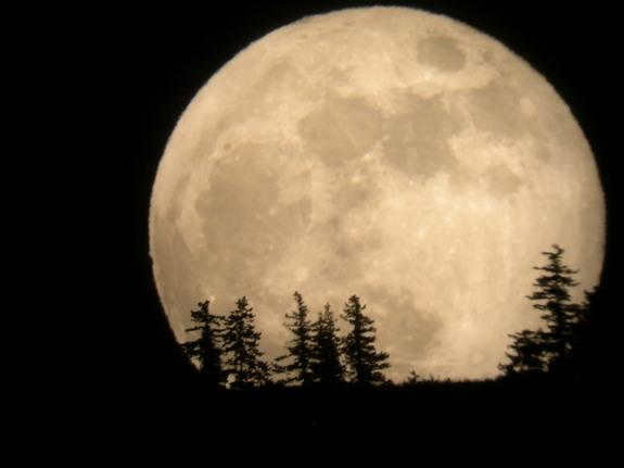 The supermoon of 2012 rises over Entiat, Wash., in this photo by skywatcher Tim McCord snapped on May 5, 2012.