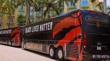 Toronto Raptors Say Black Lives Matter With Buses, Shirts At Disney Bubble Entrance