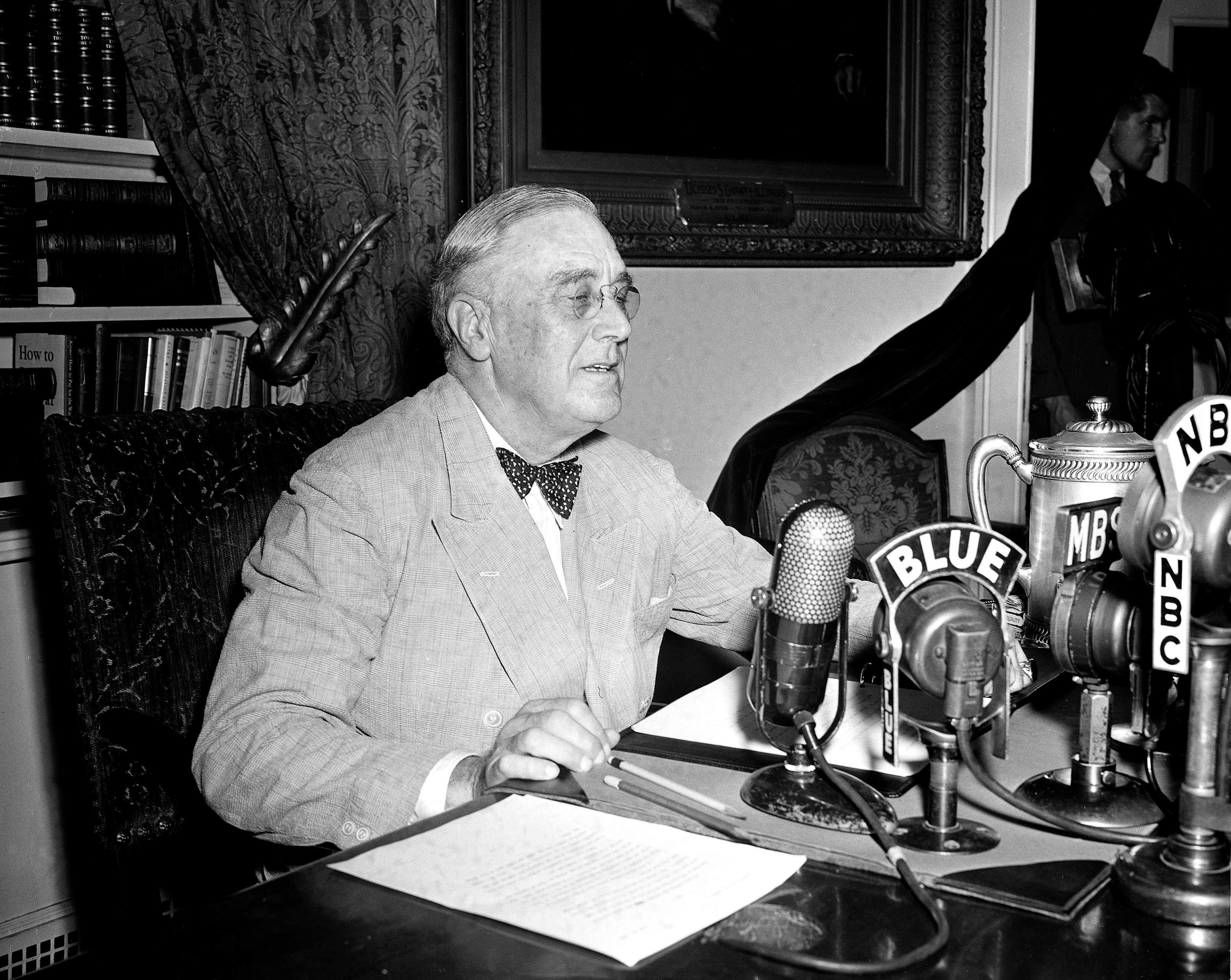 FILE - In this June 12, 1944, file photo President Franklin D. Roosevelt speaks on a national radio program from the White House in Washington. Roosevelt was diagnosed early in 1944 as suffering from high blood pressure, hypertensive heart disease, cardiac failure and acute bronchitis. (AP Photo/Eugene Abbott, File)