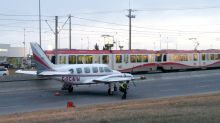 Plane with engine trouble lands on Calgary roadway