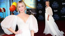 Emily Blunt resembles a Disney princess in billowing sleeves at Mary Poppins premiere