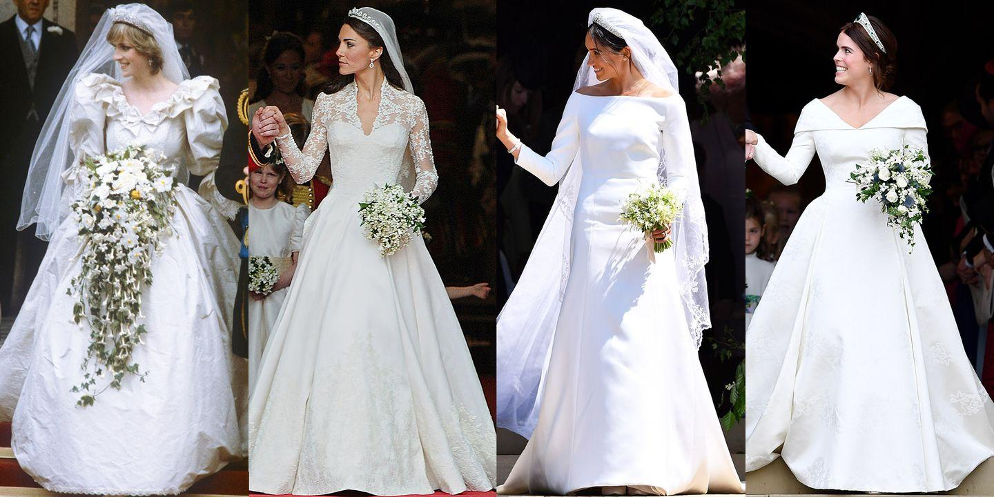 How Princess Eugenie S Wedding Dress Compares To Meghan Markle Kate Middleton And Princess Diana S Gowns