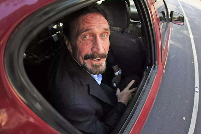 John McAfee looking out a car window.