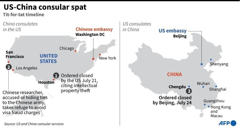 Graphic on tit-for-tat consular closures by the US and China (AFP Photo/)