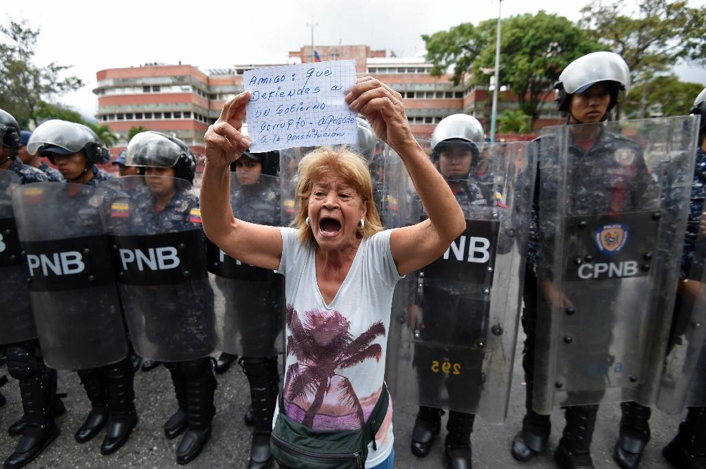 A woman demonstrating against Maduro holds a sign urging the military to uphold the constitution (AFP Photo/Juan BARRETO)