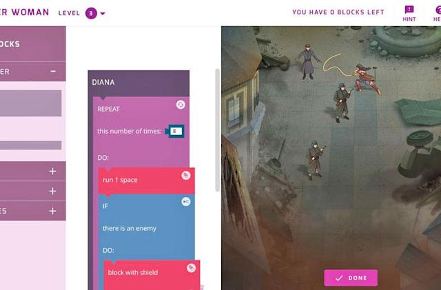 Google teaches kids to code with scenes from 'Wonder Woman'