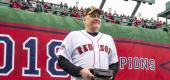 Curt Schilling during a ceremony at Fenway Park. (Getty Images)