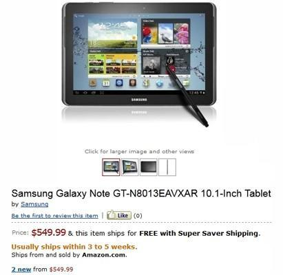 Galaxy Note 10.1 up for pre-order on Amazon US: $549 with quad-core CPU in tow (update: pulled)
