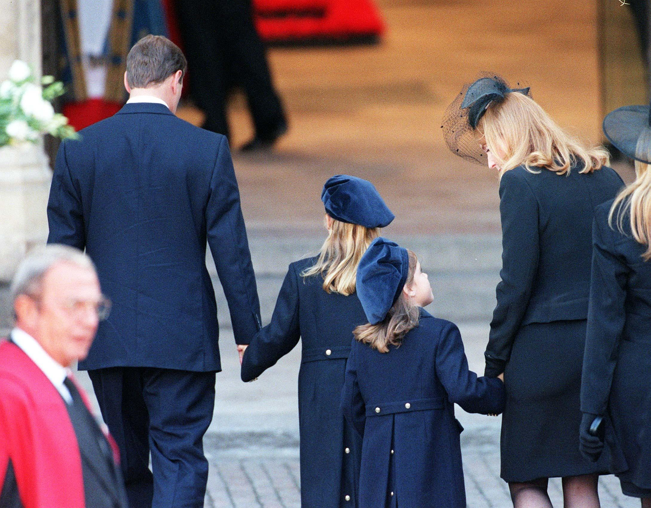 The Duke and Duchess of York and their daughters Princess Beatrice (2nd left) and Eugene arrive at Westminster Abbey for the funeral of Diana,  Princess of Wales today (Sat).