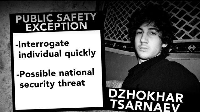 Bombing suspect Dzhokhar Tsarnaev not given Miranda rights
