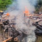 Offers flooding in after woodland hermit's cabin burns down