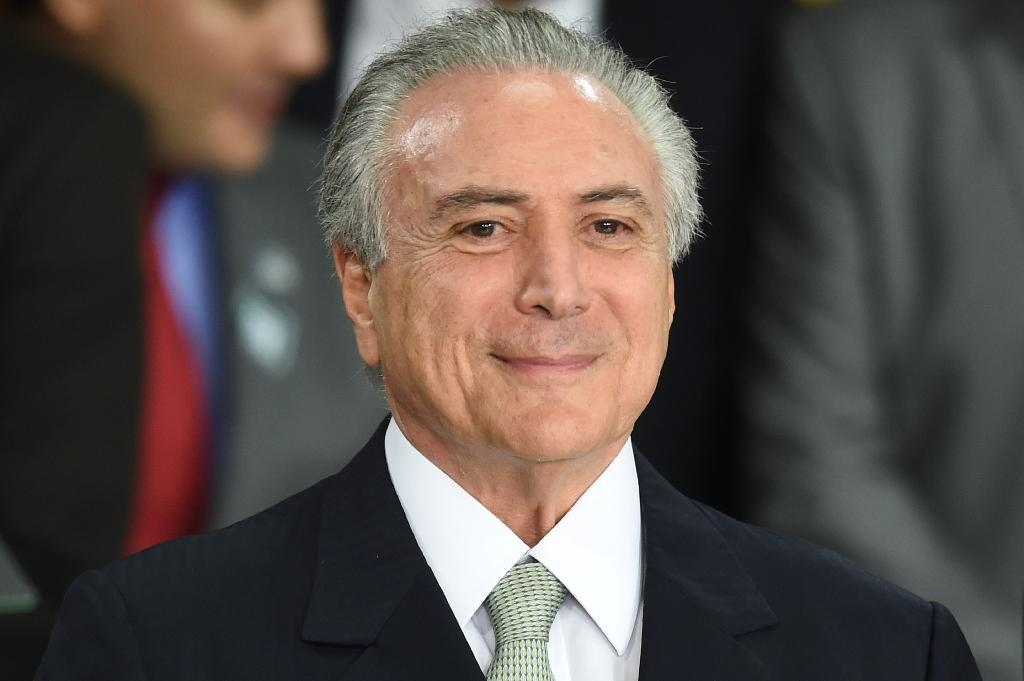 Brazilian acting President Michel Temer during the inauguration ceremony of new ministers at Planalto Palace, in Brasilia on May 12, 2016