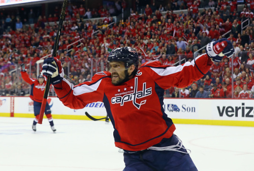 WASHINGTON, DC - MAY 06: Alex Ovechkin #8 of the Washington Capitals scores at 7:47 of the third period against the Pittsburgh Penguins in Game Five of the Eastern Conference Second Round during the 2017 NHL Stanley Cup Playoffs at the Verizon Center on May 6, 2017 in Washington, DC. (Photo by Bruce Bennett/Getty Images)
