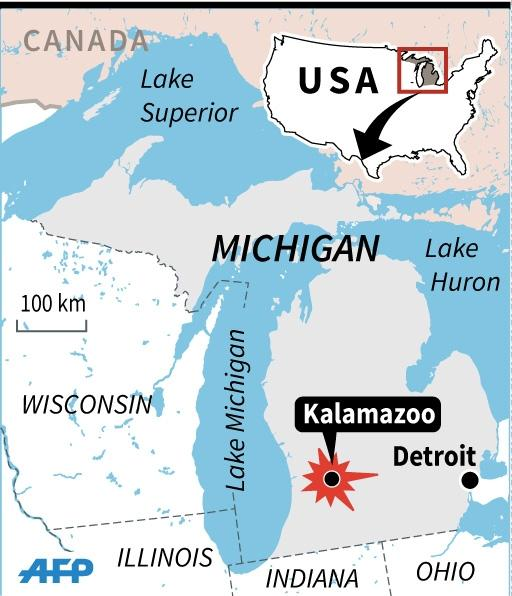 Map locating Kalamazoo in the US state of Michigan, the site of a shooting rampage Saturday. (AFP Photo/Jonathan Jacobsen, Laurence Saubadu)