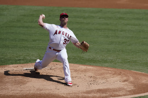 Los Angeles Angels relief pitcher Dylan Bundy throws during the first inning of a baseball game against the Texas Rangers, Monday, Sept. 21, 2020, in Anaheim, Calif. (AP Photo/Ashley Landis)