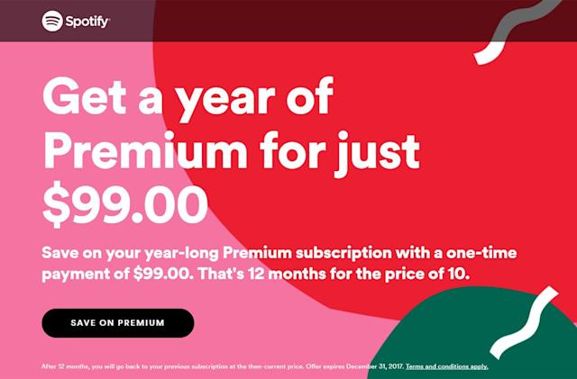 Spotify offers a year of Premium streaming for $99