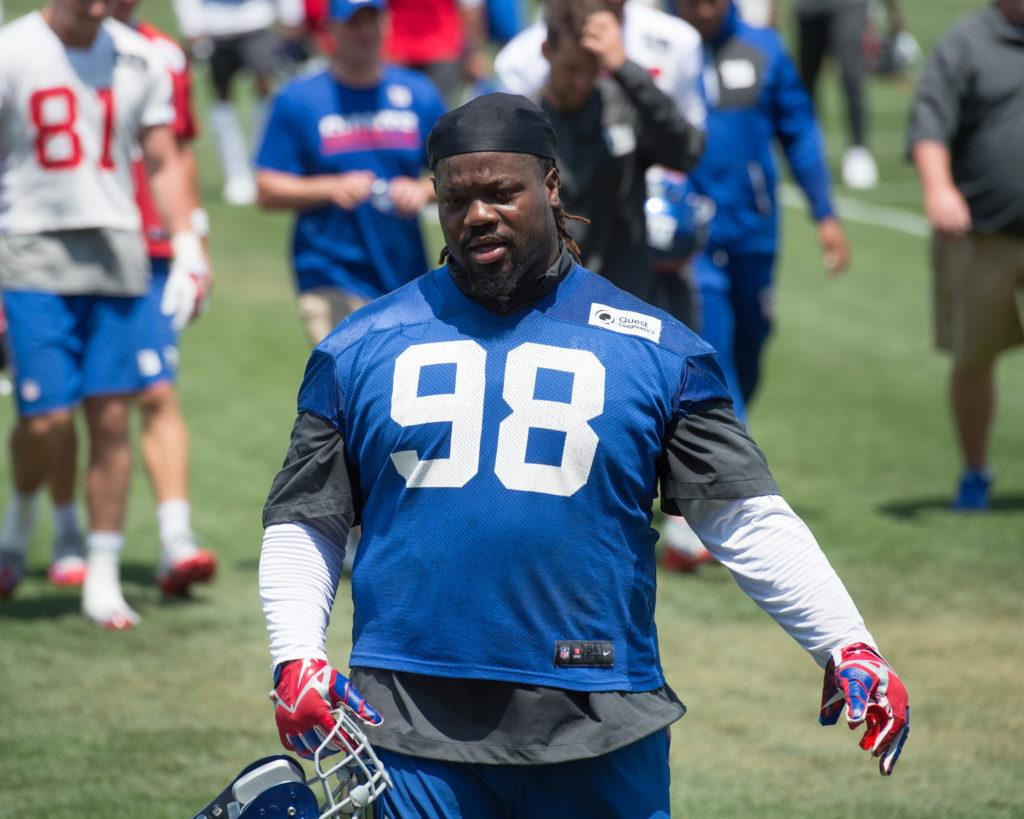Damon Harrison and Bobby Hart scrap at Giants training camp