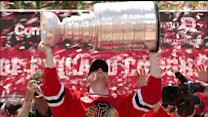 Blackhawks celebrate with the cup