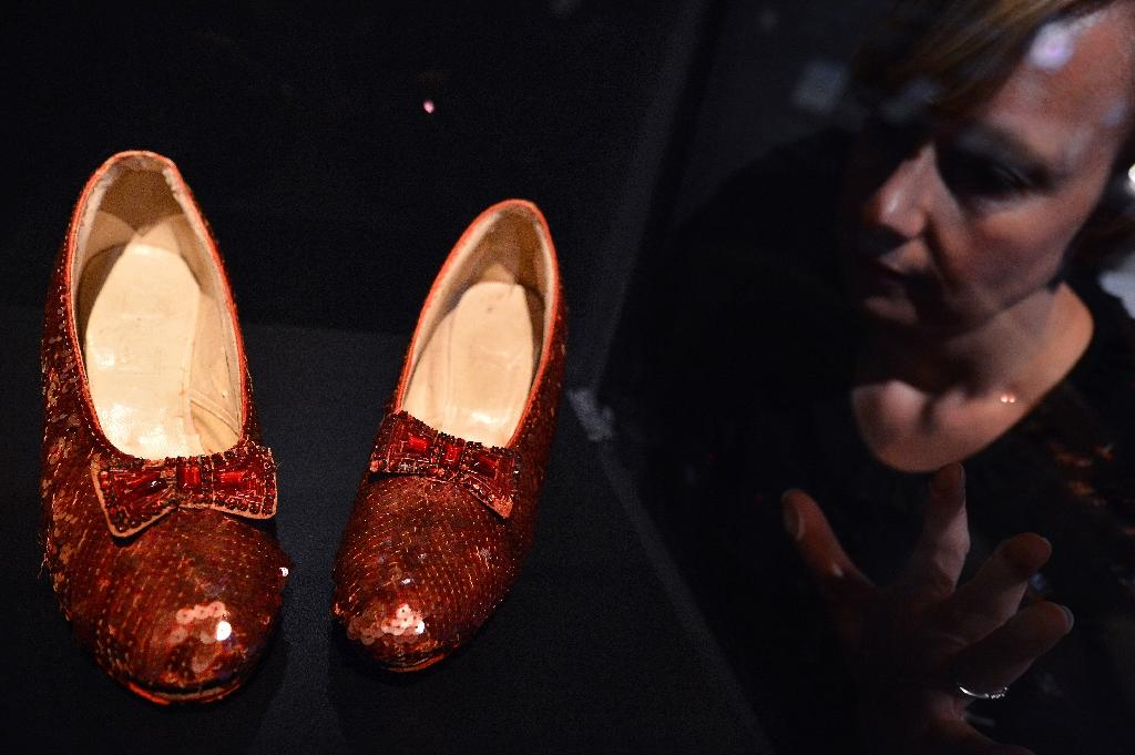 Ruby slippers worn by Dorothy Gale (Judy Garland) in the 1939 movie 'The Wizard of OZ', displayed at the Hollywood Costume exhibition in the Victoria and Alebrt Museum in London, 2012 (AFP Photo/Ben Stansall)