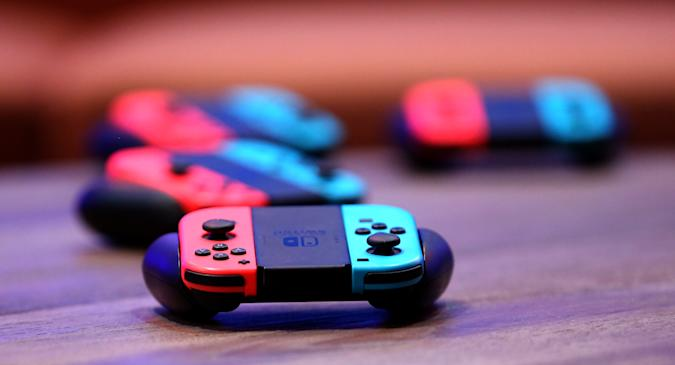 "LAS VEGAS, NEVADA - MARCH 24: Nintendo Joy-Con wireless controllers for the Nintendo Switch are displayed during the debut of Allied Esports' ""PlayTime With KittyPlays"" esports variety show at HyperX Esports Arena Las Vegas at Luxor Hotel and Casino on March 24, 2019 in Las Vegas, Nevada. (Photo by Gabe Ginsberg/Getty Images)"