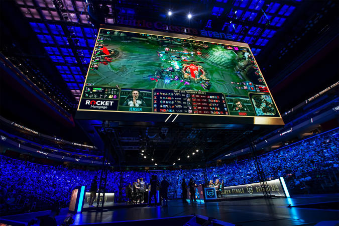 DETROIT, MI - AUGUST 25: The final play to end the game for Team Liquid that defeated Team Cloud9 to win their 4th straight championship during Day-2 of the 2019 LCS Summer Finals at Little Caesars Arena on August 25, 2019 in Detroit, Michigan. Team Liquid defeated Team Cloud9 3-2 in a best of 5 match play to win the North American 2019 League of Legends Championship. (Photo by Dave Reginek/Getty Images)