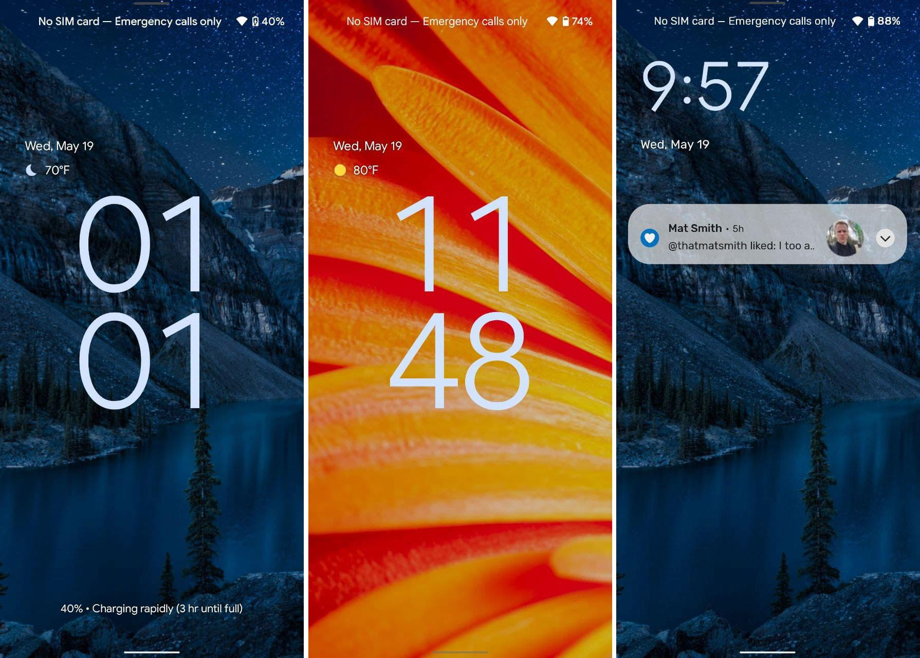 Android 12 beta lock screens. A composite of three screenshots showing the new Android 12 lock screen with a mostly blue wallpaper on the left, a mostly orange wallpaper in the middle and one with notifications on the blue background on the right. The clock takes up the middle of the screen on the first two screenshots, while it sits on the top left of the rightmost screenshot.