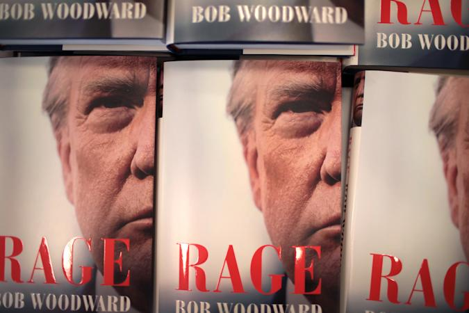 """CHICAGO, ILLINOIS - SEPTEMBER 15: """"Rage"""" by Bob Woodward is offered for sale at a Barnes & Noble store on September 15, 2020 in Chicago, Illinois. The book, based on interviews that Woodward had with President Donald Trump, went on sale today. (Photo by Scott Olson/Getty Images)"""