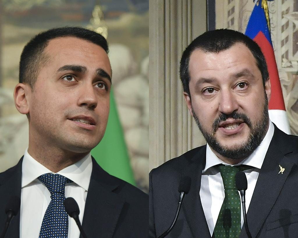 Anti-establishment Five Star Movement leader Luigi Di Maio (left) and far-right League party head Matteo Salvini both have posts in the new Italian government (AFP Photo/Tiziana FABI)