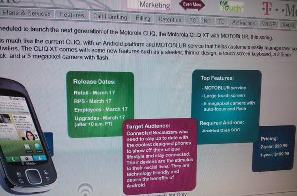 Leaked slide points to March 17th launch, $99 price for Motorola CLIQ XT