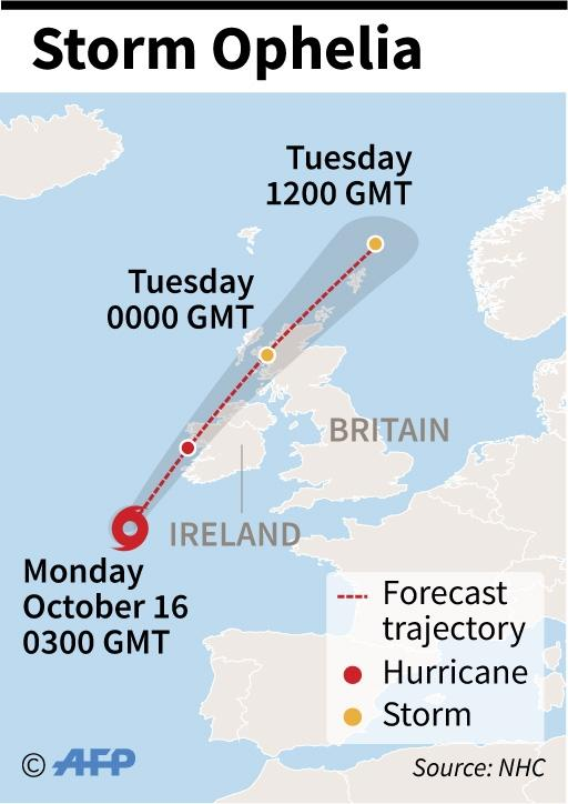 Map showing the path of Storm Ophelia (AFP Photo/Laurence CHU)