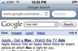 Mobile Safari search via toolbar points to clearer results
