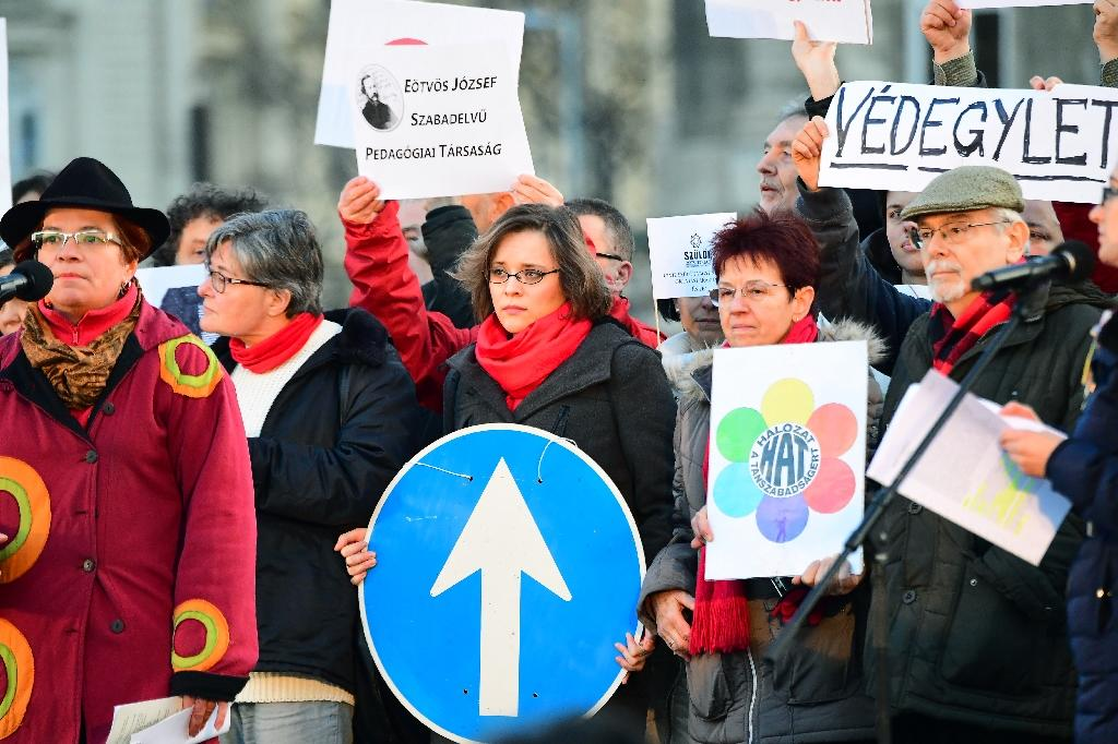 Activists of several non-governmental organizations show their logos during an anti-government demonstration in front of the Hungarian parliament in Budapest on February 5, 2017