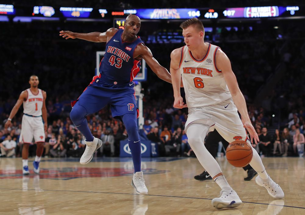 New York Knicks forward Kristaps Porzingis (6) is averaging over 30 points per game this season. (AP Photo/Julie Jacobson)