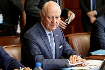 UN Special Envoy for Syria Staffan de Mistura attends a meeting during consultations on Syria at the European headquarters of the United Nations in Geneva