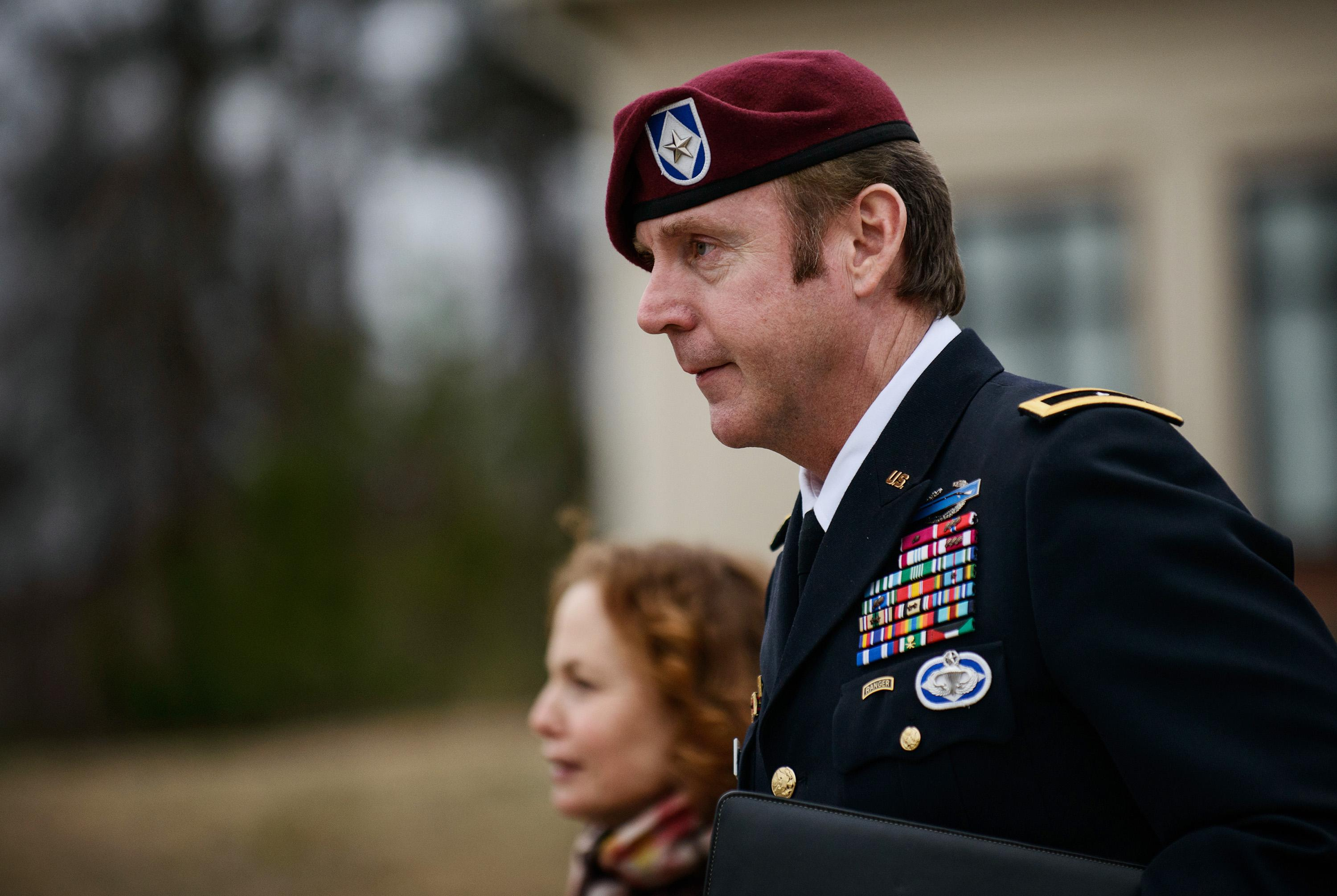 FILE - In this March 4, 2014 file photo, Brig. Gen. Jeffrey Sinclair leaves the courthouse following a day of motions at Fort Bragg, N.C. Less than a month before Sinclair's trial on sexual assault charges, the lead prosecutor broke down in tears Tuesday as he told a superior he believed the primary accuser in the case had lied under oath. (AP Photo/The Fayetteville Observer, James Robinson) MANDATORY CREDIT