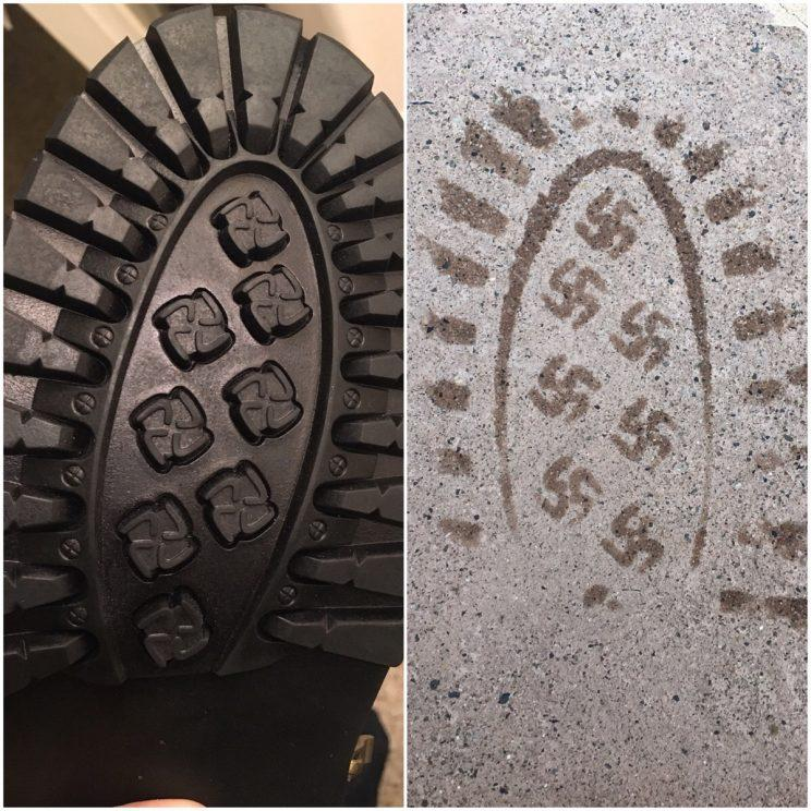 Boots recalled after owner discovers swastika footprints