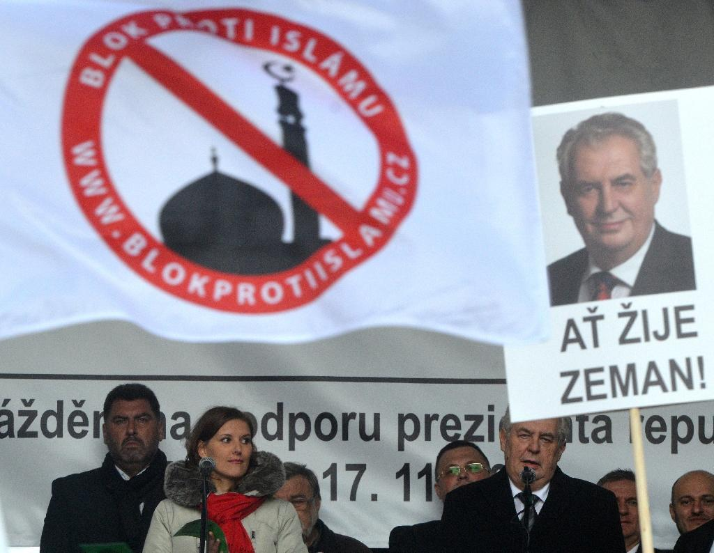 "Czech President Milos Zeman, pictured speaking at an anti-Islam rally on November 17, 2015 in Prague, again stirred controversy on December 26 in a Christmas message describing Europe's migrant crisis as ""an organized invasion"" (AFP Photo/Michal Cizek)"