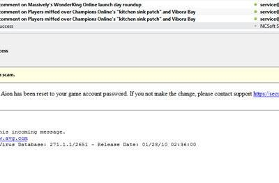 Aion players: Watch your e-mails for scams