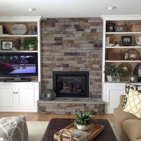 Stone Fireplace With Built In Cabinets: How To Create A Stacked-Stone Look Fireplace On A Budget