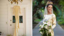 4 women in family wear same handmade wedding gown from 1932